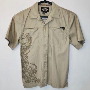 Harley Davidson Shirt Khaki Huge Eagle Print Large